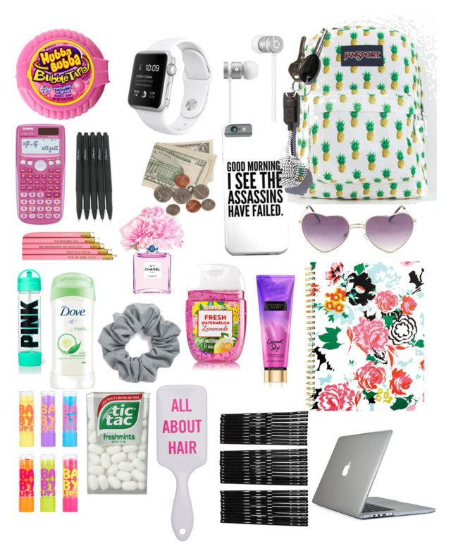 """School essentials"" by grace-j-sturgeon on Polyvore featuring JanSport, Beats by Dr. Dre, Natasha Couture, Maybelline, Dove, Chanel, Native Union, Monki, Speck and ban.do"