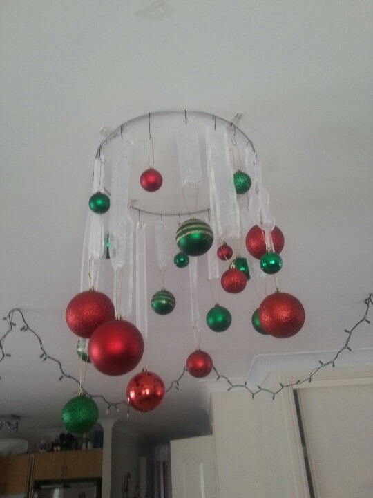 Hanging Baubles On A Wire Ring Christmas Pinterest