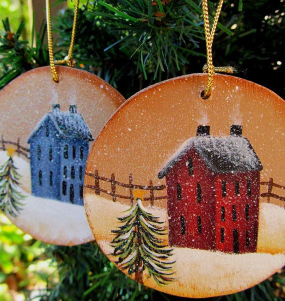 Saltbox Christmas Ornament Hand Painted Wood by PaintingByEileen, $6.00