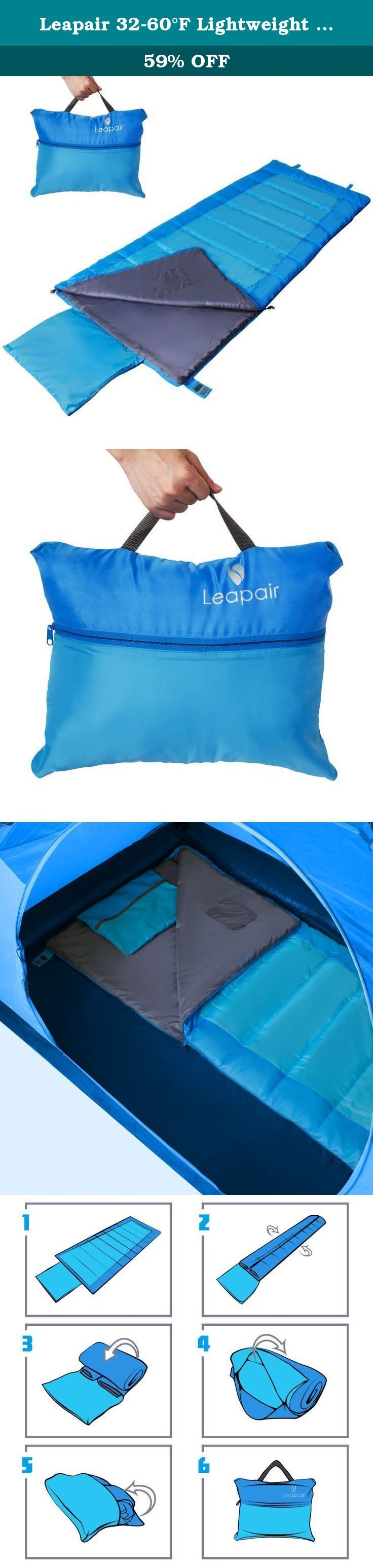 Leapair 32-60°F Lightweight Envelope Sleeping Bag with Storage Bag. Enjoy a great night's sleep anywhere with the Leapair Lightweight Sleeping Bag with Storage Bag. With a comfort temperature range of 32-60°F, this durable, lightweight, and cozy sleeping bag delivers a comfortable sleep at the campsite, hostel, and other overnight stays. Made with a water-resistant polyester taffeta shell, this bag protects against moisture and tent condensation. Unzip the bottom to regulate temperature…