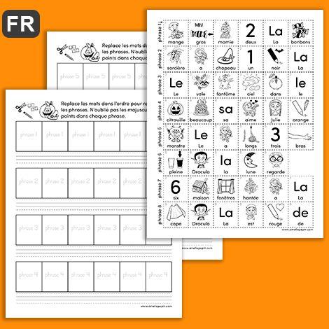 GRATUIT / FREE L'enfant découpe les mots illustrés de la page 3 du document (une rangée correspond à une phrase). Il replace les mots en ordre pour former une phrase et il les colle dans les carrés aux pages 1 et 2. Il peut ensuite écrire les phrases obtenues dans les trottoirs. NOTE: Afin d'aider les élèves, la majuscule est indiquée sur les i...