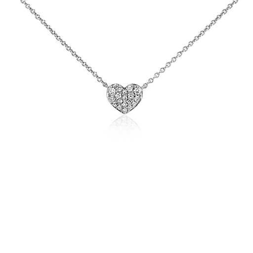 Mini Diamond Heart Necklace in 14k White Gold #PinToWin #BeMine #ValentinesDay…
