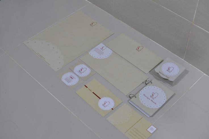 School Assignment - Corporate Image (Name Card, Letterhead, Envelope, Merchandise (Memo Pad, Recipe Book & Pos Card)