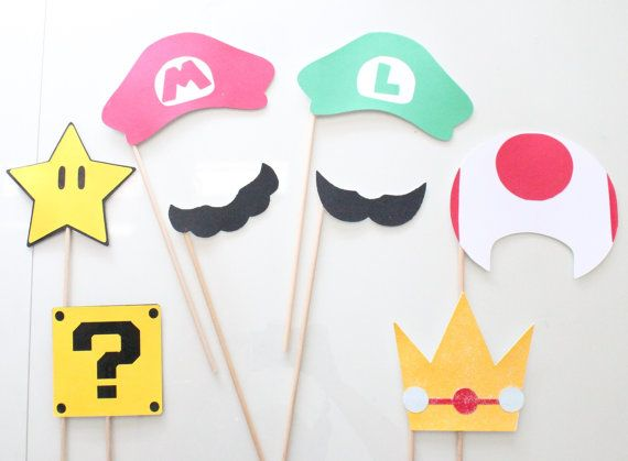 Mario Bros Photo Booth Props - 6 pc on Etsy, $15.00