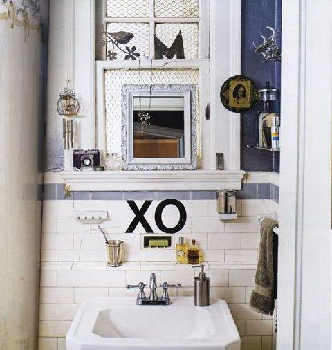 tiny eclectic bathroom: Small Bathroom, Wc Bathroom, Old School, Bathroom Renovation, Bathroom Spaces, Eclectic Bathroom, Tiny Bathrooms, Bathroom Vignettes