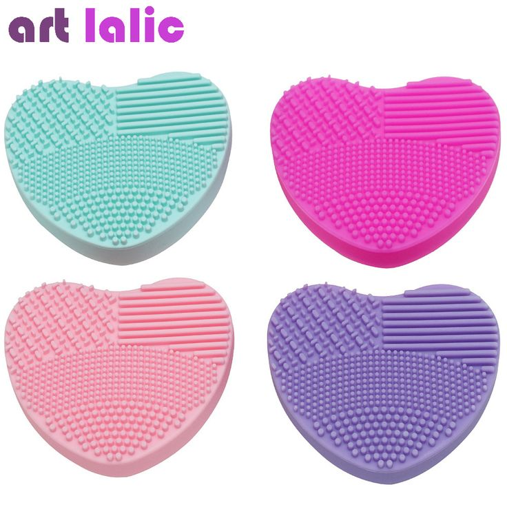 1pc Makeup Brush Cleansing Pad Cosmetic Silicone Cleaning Brush Pad Heart Shape Brush Cleanser Brush Egg Heart Design