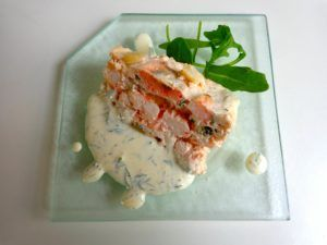Salmon terrine This terrine of salmon with shrimp and sea scallops makes a lovely starter. It is enhanced by a cream sauce lightly flavored with curry and dill. And the beauty of the recipe is that…
