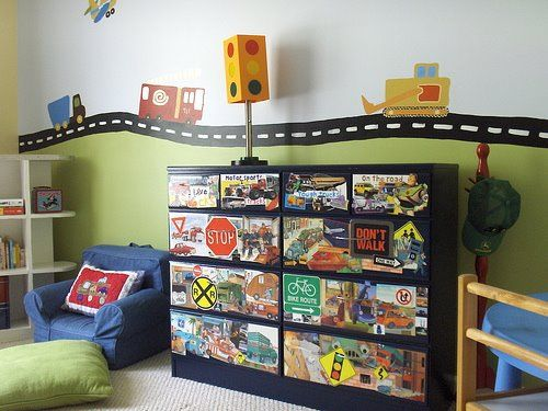 Potential Boys' Room  http://designdazzle.blogspot.com/2009/04/transportation-decoupage-dresser.html