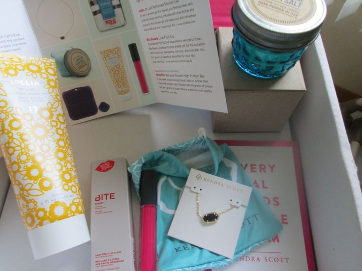 August 2014 Pop Sugar Must Have Box   Referral link: popsu.gr/rtJb #PopSugarMustHave 1. #KendraScott Elisa Necklace in Black Cat's Eye 2. #Paddywax Ocean Tide + Sea Salt Mini Jar Candle 3. Goodbyn Purple Meal and Dipper Set (not shown) 4. The Mason Jar Cookie Company Celebrate! Mix (not shown) 5. #Lollia At Last Perfmed Shower Gel 6. #BiteBeauty Lush Fruit Lip 7. thinkThin Brownie Crunch High Protein Bar (not shown)