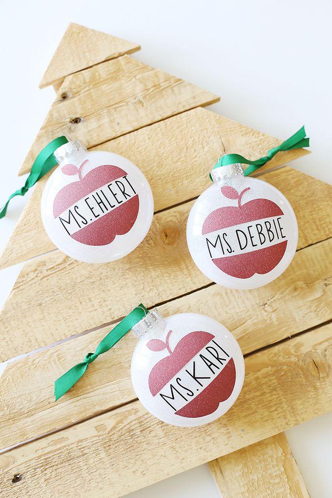 Christmas Cricut Glitter Vinyl Ornaments Teacher Gift