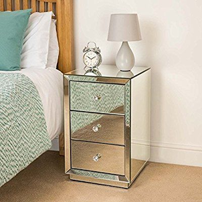 Mirrored Glass Bedside Table 3 Drawer Bedroom Cabinet Stand Christow ...