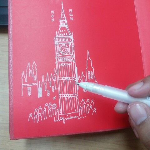 Big ben sketching with white gel ink pen by luthfiahra