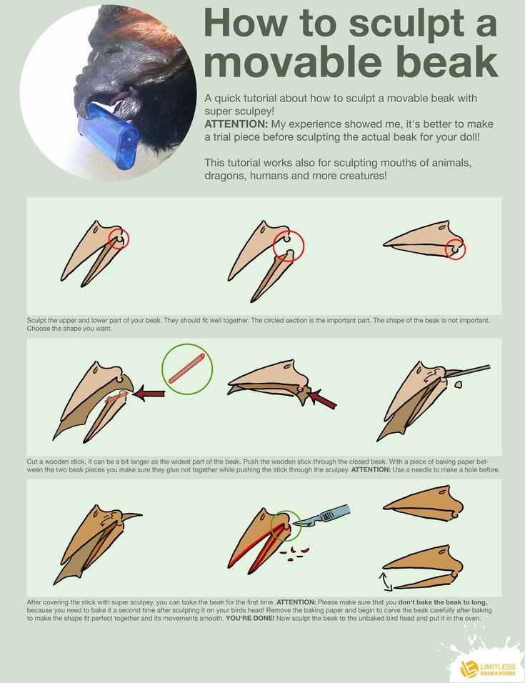 How to sculpt a movable beak by LimitlessEndeavours.deviantart.com