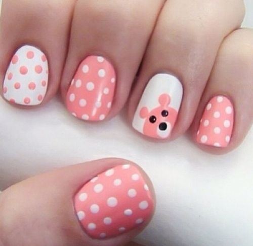 Reverse polka dots and a bear face if desired