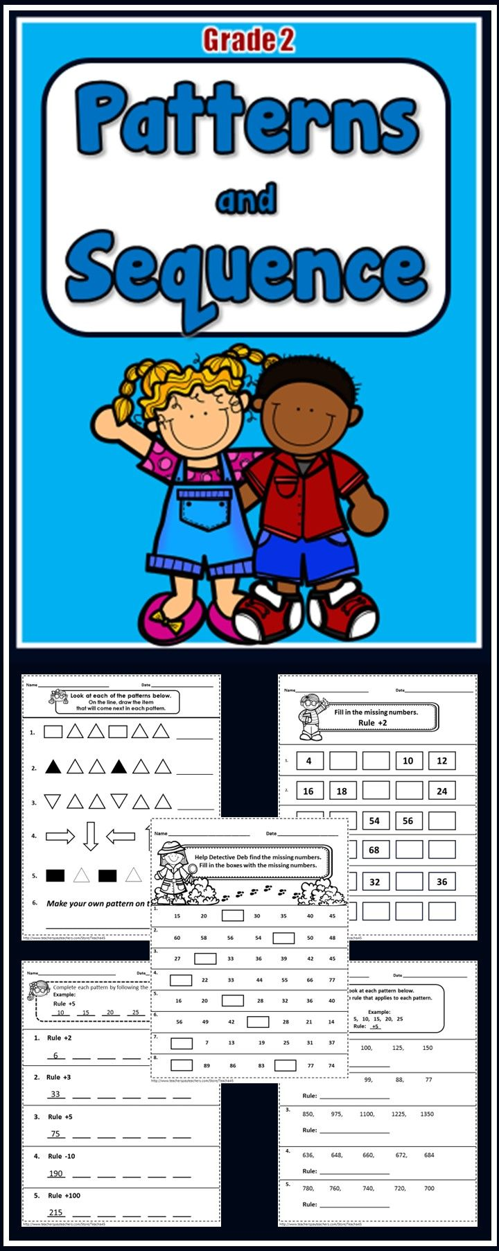 Patterns and Number Sequence - 29 No prep printables - Grades 2-3