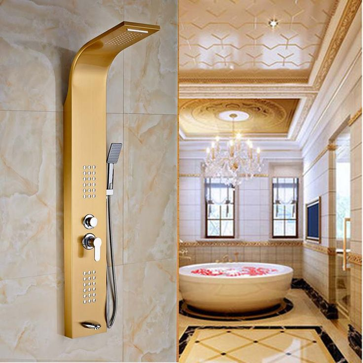 Waterfall Rain Shower Column Shower Panel W/ Hand Shower Jets Tub Golden  Plate Shower Faucet