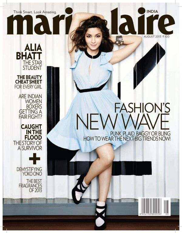 Alia Bhatt on The Cover of Marie Claire Magazine - August 2013.