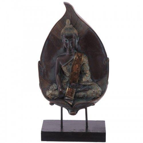 Boeddha Thais blad op standaard  Mooi beeld van een Thaise Boeddha, kleur is kopergroen.    Hoogte 26.5cm Breedte 12.5cm Diepte 5.5cm