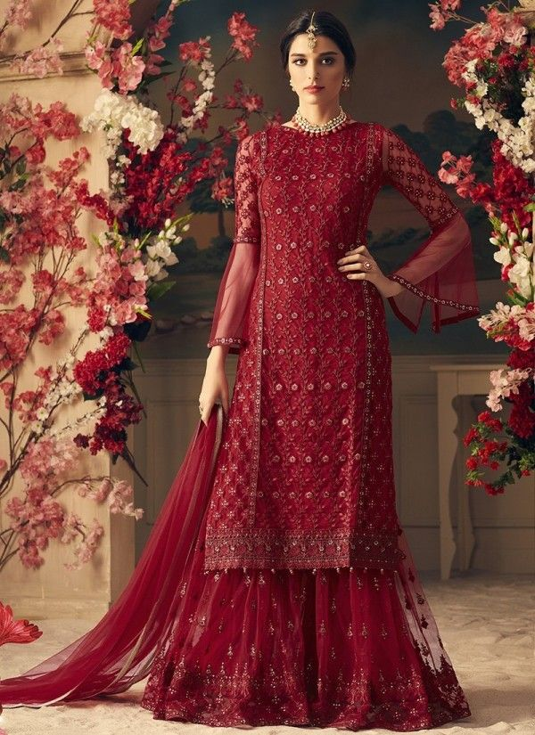 e4379b463fe Red Bridal Multi Embroidered Flared Sharara Suit in 2019