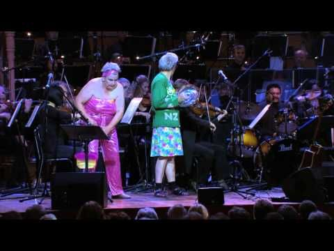The Topp Twins - Camp Mother and Camp Leader playing with the Auckland Philharmonia Orchestra! Watch some nifty spoon action here...
