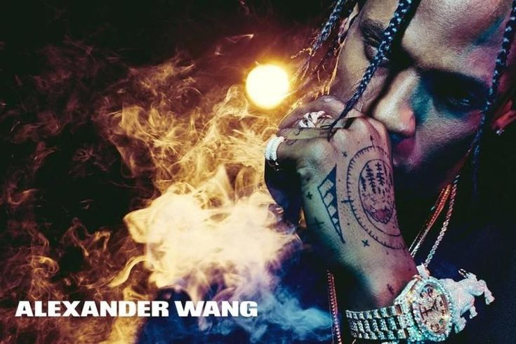 In this picture: Travis Scott (Entertainer) Credits for this picture: Alexander Wang (Designer) , Steven Klein (Photographer) , Pascal Dangin (Creative Director) , Karl Templer (Fashion Editor/Stylist) , Anthony Turner (Hair Stylist) , Jimmy Paul (Hair Stylist) , Polly Osmond (Makeup Artist) , Gina Edwards (Manicurist)