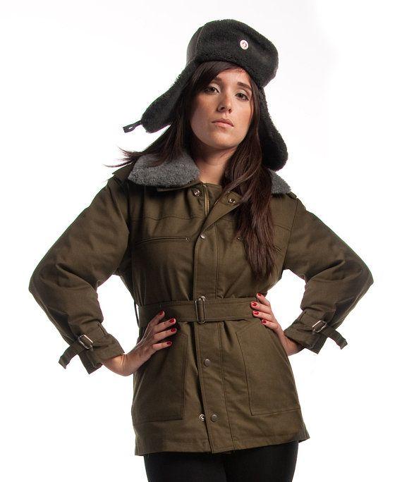 1980 ' s MILITARY STYLE VINTAGE armée tchécoslovaque d'Olive Parka manteau femme vintage de rang supérieur
