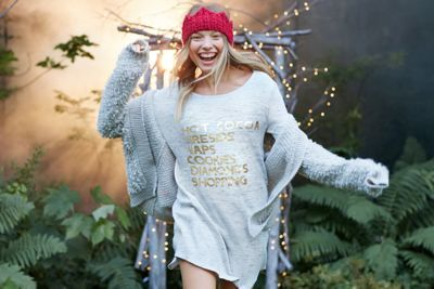 Aerie Graphic Tee Nightie  by Aerie for American Eagle Outfitters   We're dreaming of… HOT COCOA. FIRESIDE. NAPS. COOKIES. DIAMONDS. SHOPPING. Shop the Aerie Graphic Tee Nightie  and check out more at AE.com.