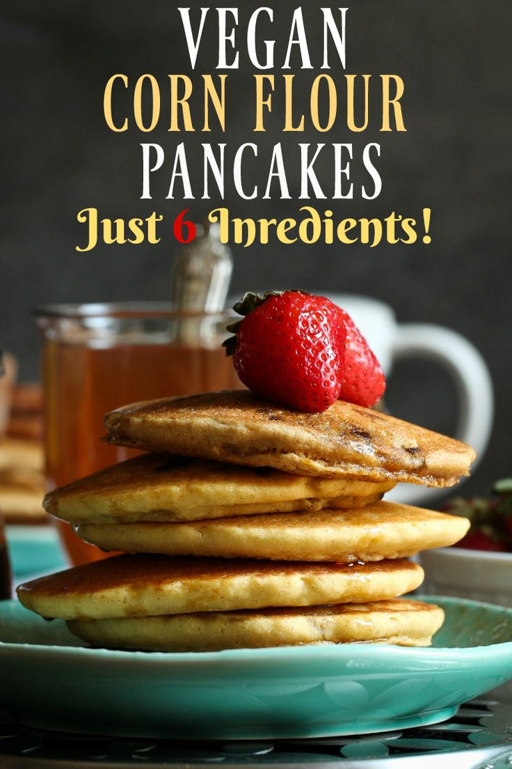 Amazing low-fat vegan corn flour pancakes that are gluten-free, oil-free, nut-free, oat-free and so much healthier! These are incredibly soft and tender and taste like a super soft cornbread. They can be enjoyed as is, or with any flavor pairings you like. These taste amazing with maple syrup. via @thevegan8