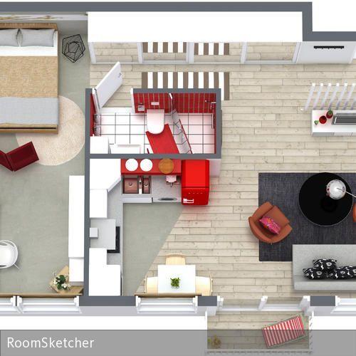 Cute RoomSketcher Wohnidee Kleine Wohnung einrichten D Grundriss