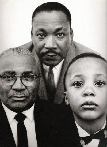 MLK, Jr., with his father MLK, Sr., and his son MLK III, taken in Atlanta, Georgia, 1963.
