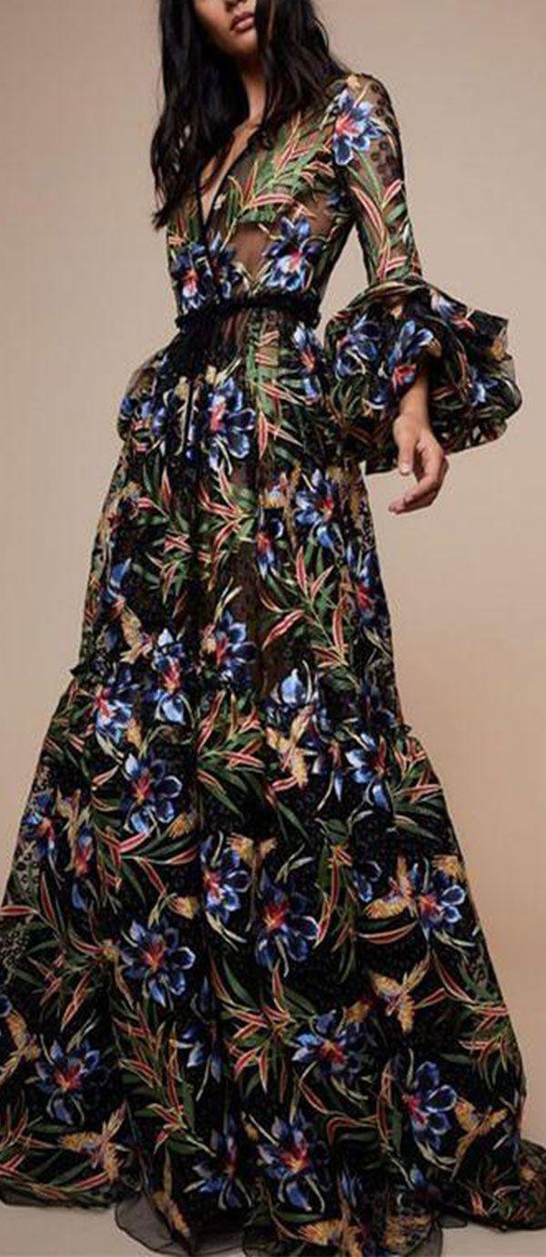 0c0fff01ff 2019 的 Sexy V-Collar Print Long-Sleeved Maxi Dress | Maxi dresses 主题