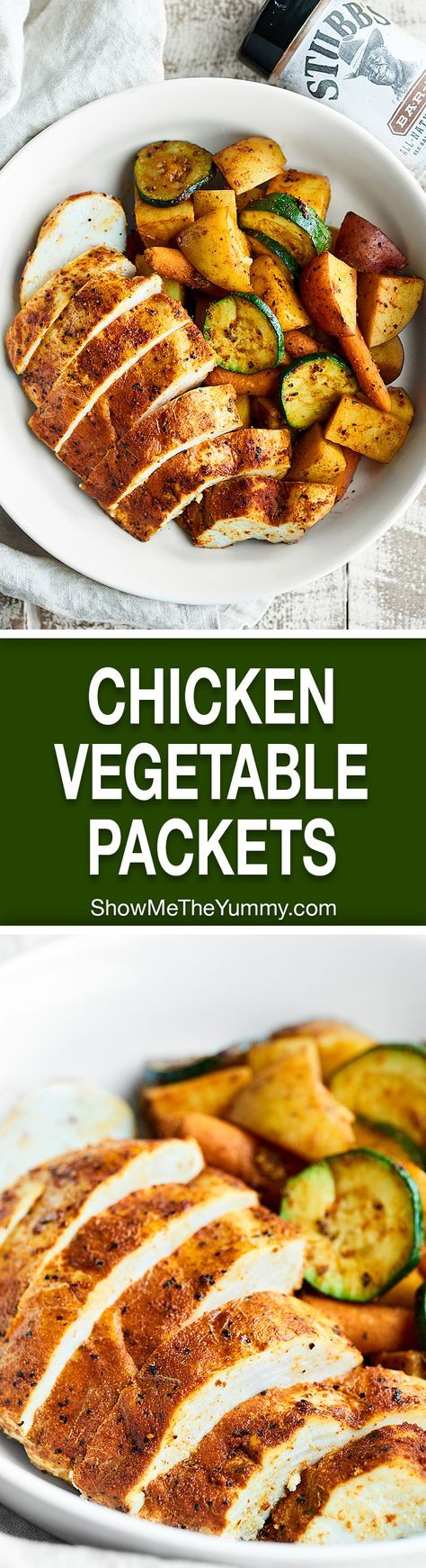 These Chicken and Vegetable Foil Packets are perfect for easy, healthy, weeknight dinners! Full of BBQ chicken, zucchini, carrots, & potatoes. showmetheyummy.com #ad #stubbsinsider @stubbsbbq (Weeknight Paleo Meals)