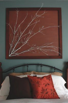 use the old frame, the old wall paper and some tree branches for this look