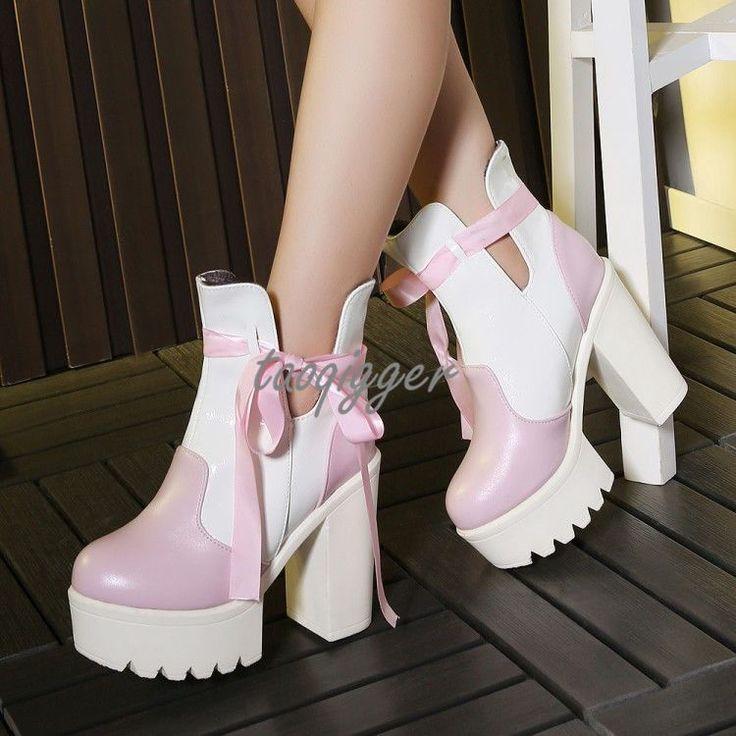 Retro Women'S Fur Lining Ankle Boots Platform Block Heel Gothic Bowtie Cos Boots