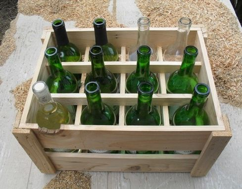 Custom Made Small Space Pantry Wine Rack Crate Handmade With Reclaimed Upcycled Wood 12 Bottle