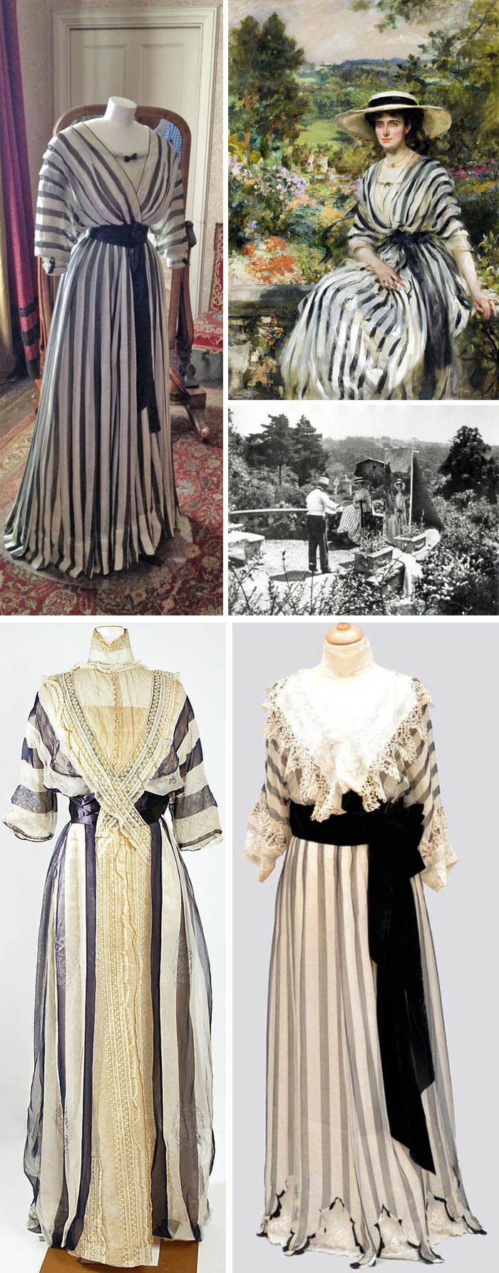 The Mystery of the Gray Striped Dresses: at top, a dress owned by Rosamund (Mrs. Edward) Hussey of Kent, England, maker unknown. Next to it is a painting by the American society portraitist JJ Shannon of Mrs. Hussey wearing the dress, shortly after her marriage in 1900. Below that, a photo of the painting being made! (Courtesy UK National Trust.) Bottom, two similar dresses by Jeanne Paquin. Left, 1912 (owned by the Met) and right, 1910 (sold by Auctions Eve). Both silk.