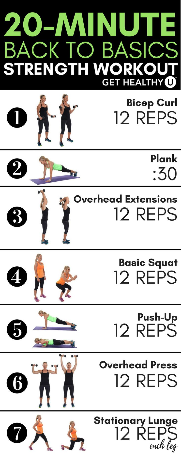 This 20-minute strength training routine contains some of these building blocks of fitness: squats, lunges, planks, push-ups, and more. It's a quick, total-body workout that utilizes all the major muscle groups through basic movements needed to build strength.
