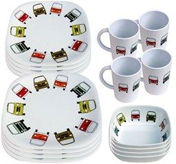 (S14054)Camping, leisure and furnishing - Tables, chairs, plates and cutlery - 16 piece melamine Dining set with coloured vw campers design