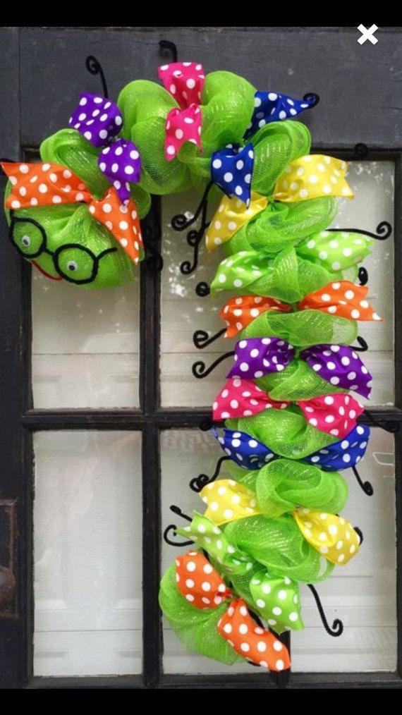 Back to school wreath bookworm wreath classroom decor  gift
