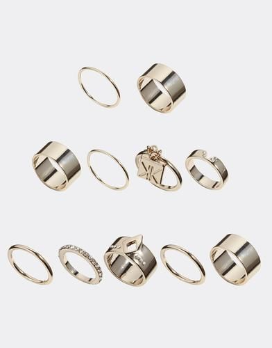 Kardashian Kollection Eleven Piece Multipack Ring - Gold #accessories #covetme #kardashian