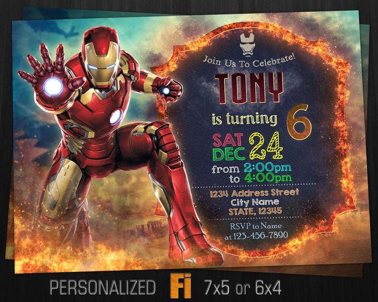 Iron Man Invitation, Iron Man Birthday Party, Marvel, Ironman Invitation, Tony Stark, Superhero, Personalized, Printable, Digital File by FavoriteInvitations on Etsy https://www.etsy.com/listing/487417827/iron-man-invitation-iron-man-birthday