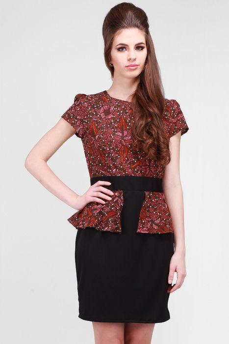 Teabag Semi Peplum Batik Dress