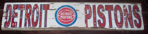 Detroit Pistons Barnwood Sign 28x5 by TheRavagedBarn on Etsy, $25.00