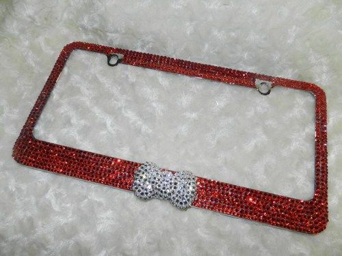 classy bling metal license plate frame crystals red bow white