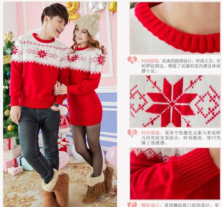Retail! Red&white quality mens/womens Christmas sweater couples matching christmas sweaters for lovers kit/kitted fitted sweater-in Pullover...