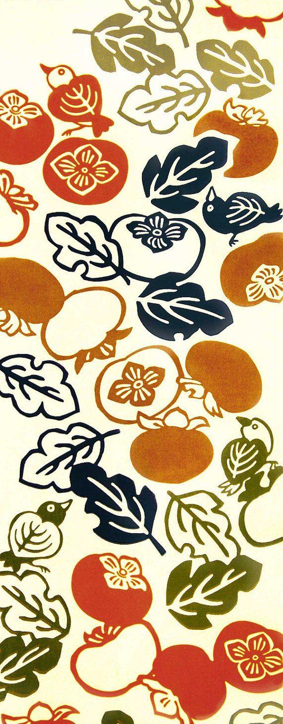 Japanese Tenugui Towel Cotton Fabric, Orange Persimmon Fruit, Leaf, Bird Design, Hand Dyed Fabric, Art Fabric, Wrapping, Home Decor, JapanLovelyCrafts