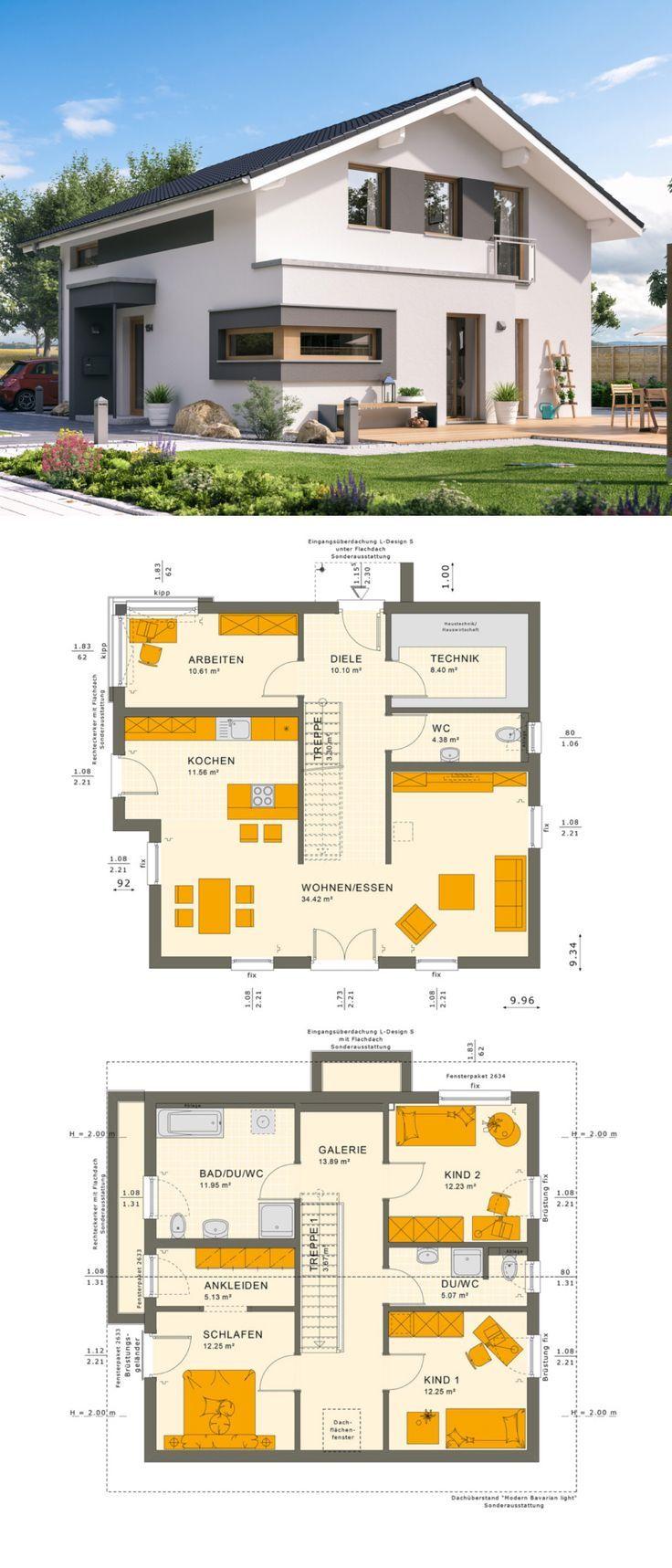 Modernes Design Einfamilienhaus mit Satteldach Architektur – Haus Grundriss Fertighaus Sunshine 154 V5 Living Haus – Haus bauen & Hausbau Design Ideen auf HausbauDirekt.de #haus #hausbauen #hausideen #grundriss #einfamilienhaus #satteldach #erker #fertighaus #hausbaudirekt – HausbauDirekt