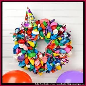 DIY Birthday Balloon Wreath by Dollar Store Crafter
