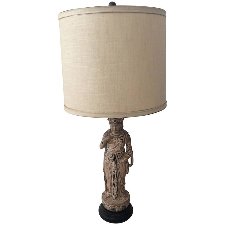 Hollywood Regency James Mont Style Carved Wood / Polychromed Asian Table Lamp