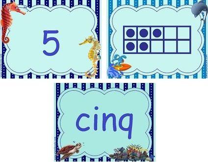 Voici quelques cartes de numération. Imprimées pleine page, elle feront des flashcards, imprimées en 4 par page elles feront un jeu. Il faudra alors à l'élève associer les différentes écritures du nombre. Niveau 1, thème de la mer de 0 à 20 niveau 2,...